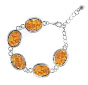 Natural Amber Oval Shaped Bracelet